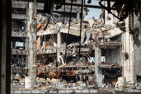 shelling: Detail view of donetsk airport ruins after massive artillery shelling Stock Photo