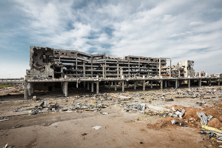 area of conflict: Wide Angle view of donetsk airport ruins after massive artillery shelling