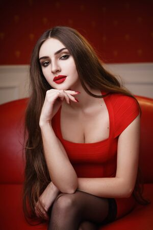 Concept: fashion, sensuality, tenderness, attraction. Beautiful woman with long hair sensual red dress and stockings studio photoshoot Reklamní fotografie
