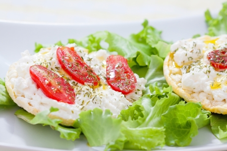 Corn cakes with cottage cheese and salad tomatoes - front view