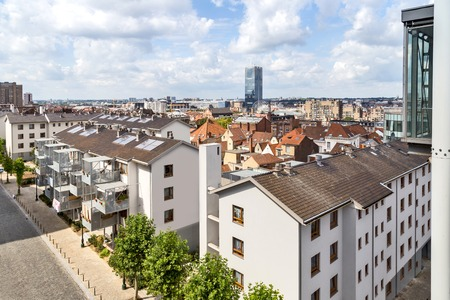 Bruxelles: View of the houses from Poelart Place in Bruxelles Stock Photo