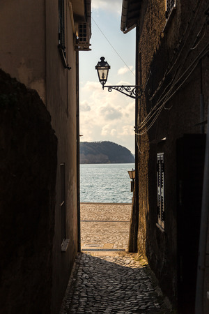 View of the lake from the alley - Anguillara Sabazia (Italy)