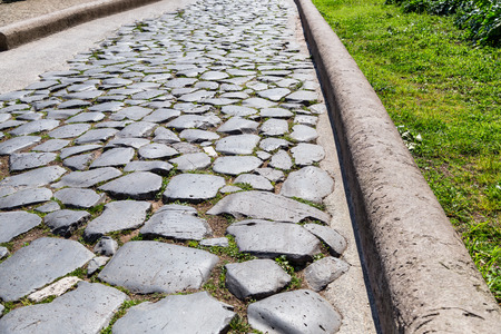 forums: Historical Roman road - Imperial Forums - Rome (Italy) Stock Photo