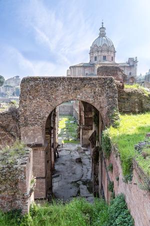 Roman ruins - Imperial fora, Rome (Italy) Archivio Fotografico