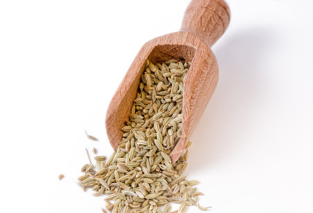bailer: Fennel seeds in the bailer full focus on fennel seeds Stock Photo