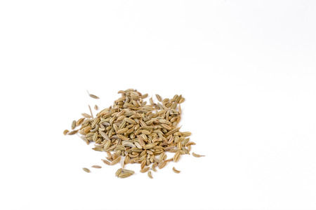 Fennel seeds on white background - 45 degree view