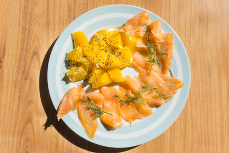 Salmon with orange salad