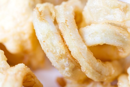 Homemade Fried squid rings - macro