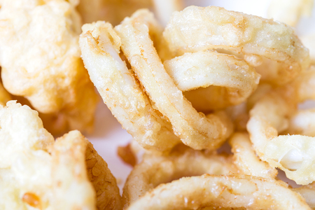 Homemade Fried squid rings -  focus on the right