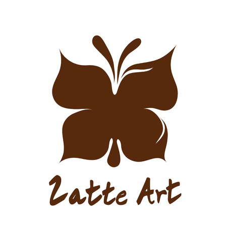 Butterfly latte art coffee  , icon, symbol with white background