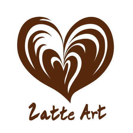 Heart Aflutter Latte Art Hot Coffee  Icon Symbol with White Background Illustration
