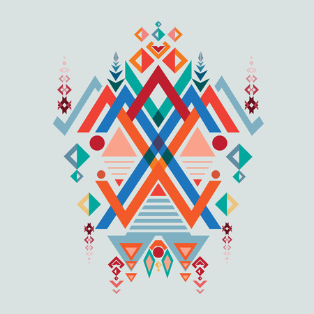 ethnic mix: Vector Aztec, tribal elements ethnic design mix geometric with light blue color background