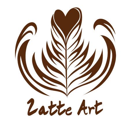 心ロゼッタ コーヒー カフェラテ アート、アイコン、背景が白の記号