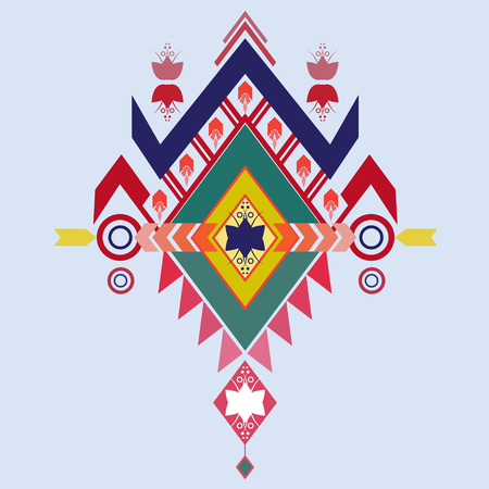 ethnic mix: Vector Aztec tribal elements, ethnic, tribal art, tribal design mix geometric textile with light blue color background