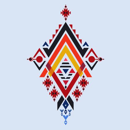 Vector Aztec stile, tribal elements design mix geometric textile with light blue color background Illustration