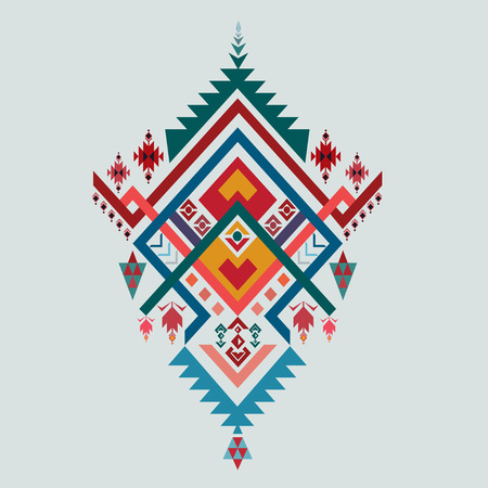 ethnic mix: Aztec stile, tribal elements, ethnic, tribal art, tribal design mix geometric textile with light blue color background Vector Illustration
