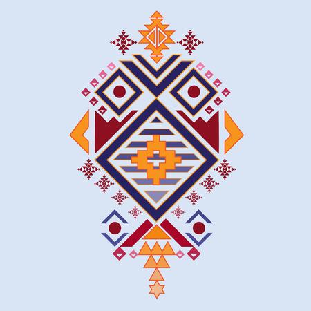 Vector textile Aztec stile, tribal elements mix geometric with light blue color background