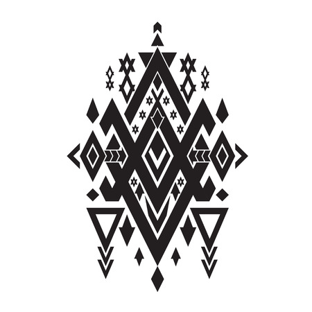 Vector Tribal elements, ethnic, aztec stile, tribal art, tribal design mix geometric with black and white color background Illustration
