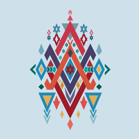 Vector Tribal elements, ethnic and aztec stile tribal design mix geometric with light blue color background