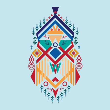 ethnic mix: Pattern tribal elements, ethnic, aztec stile, tribal art, tribal design mix geometric with light blue color background Vector