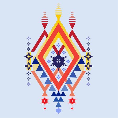 ethnic mix: Vector Aztec tribal design stile pattern, tribal elements, ethnic, tribal art mix geometric textile with light blue color background