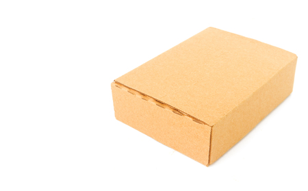 pack string: Paper box package on white background Stock Photo