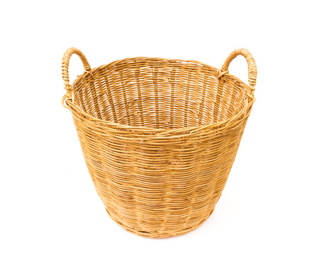 housework: Wicker baskets on white background, housework concept