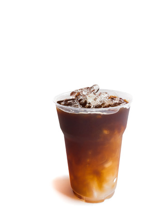 cold background: Closeup ice of americano on white background