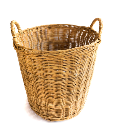 Wicker baskets on white background, workhouse concept