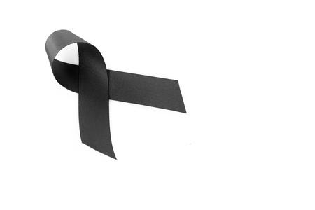 Black Ribbon Symbol For Mourning On White Background Stock Photo