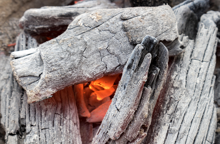ember: Hot burning charcoal for make cooking, select tive focus Stock Photo
