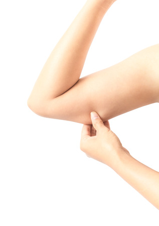 Woman hand checking her upper arm with white background