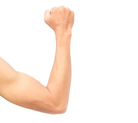 Man arm strong with muscle on white background Stock fotó