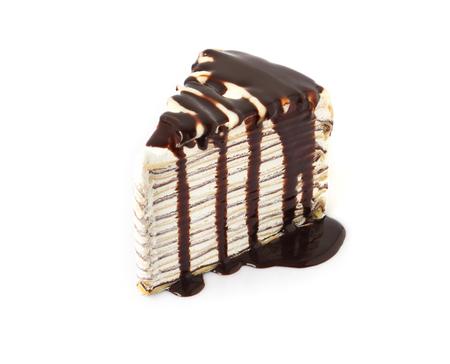 Caramel chocolate Crepe cake with sauce on white background Stock Photo