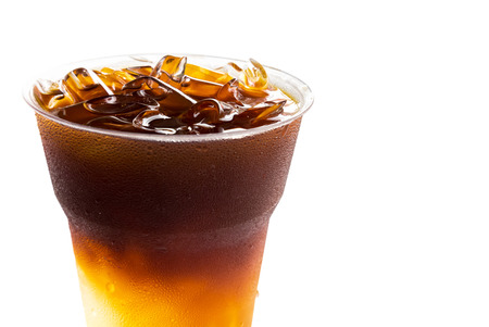 Closeup ice of americano on white background