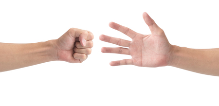 Man hand playing rock paper scissors isolate on white background