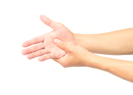 pinched: Man hand with pain on white background, health care and medical concept
