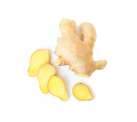 Fresh ginger on white background,raw material for cooking Фото со стока