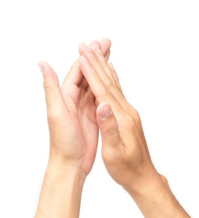Man clapping hands on white background