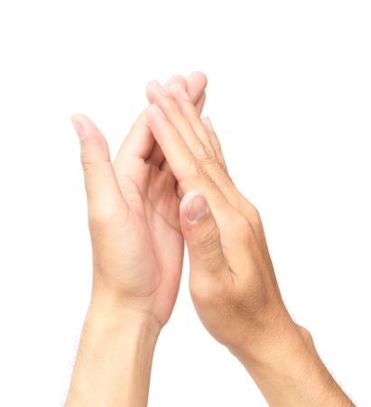 aplaudiendo: Man palmas manos sobre fondo blanco Foto de archivo