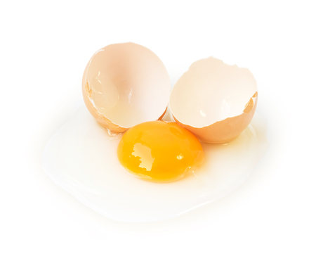 Broken eggs isolated on white background with clipping path