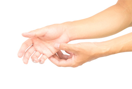 pinched: Man hand with pain isolated on white background with clipping path, health care and medical concept