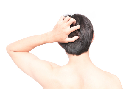 Closeup man hand itchy scalp, Hair care concept