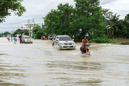 SAKON NAKHON, THAILAND - JULY 29, 2017 : Streets water flooded with sonka strom