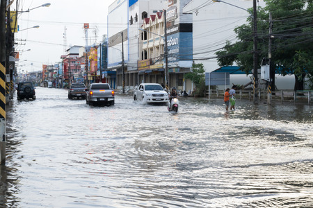 SAKON NAKHON, THAILAND - AUGUST 2, 2017 : Streets water flooded with sonka storm