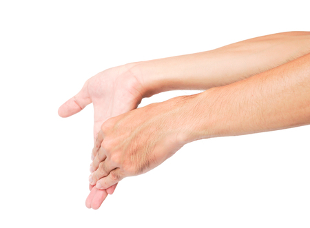 stretching exercises finger ion white background, health care concept