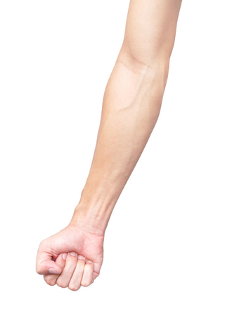 Man arm with blood veins on white background, health care and medical concept
