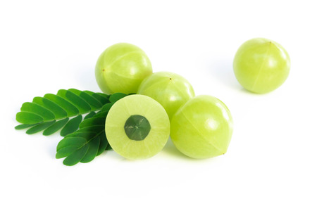Fresh indian gooseberry isolated on white background, herb and medical fruit for health care concept Standard-Bild
