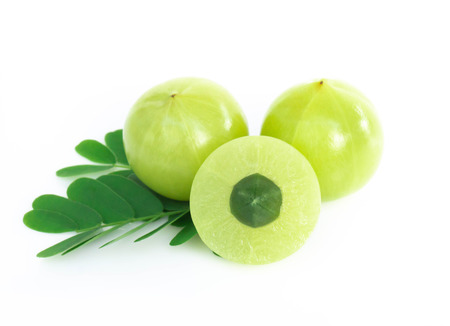 Fresh indian gooseberry isolated on white background, herb and medical fruit for health care concept Imagens