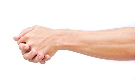 stretching exercises finger on white background